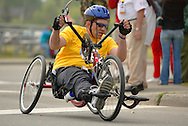 July 4th, 2006:  Anchorage, Alaska - Richard Dumas (253) enters turn one of the 5k handcycle event at the 26th National Veterans Wheelchair Games..