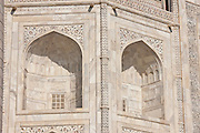 The Taj Mahal mausoleum, southern view detail, Uttar Pradesh, India
