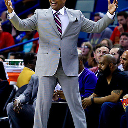 Mar 31, 2016; New Orleans, LA, USA; New Orleans Pelicans head coach Alvin Gentry reacts to an officials call during the second half of a game against the Denver Nuggets at the Smoothie King Center. The Pelicans defeated the Nuggets 101-95. Mandatory Credit: Derick E. Hingle-USA TODAY Sports