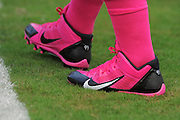 Tampa Bay Buccaneers players wearing pink shoes in honor of Breast Cancer Awareness during the Bucs loss to the Philadelphia Eagles 31-20 win on Oct. 13, 2013 in Tampa, Florida. <br /> <br /> ©2013 Scott A. Miller