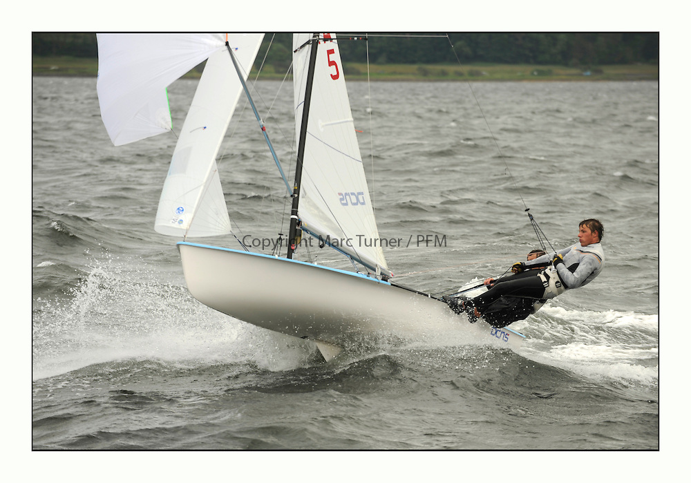 470 Class European Championships Largs - Day 3.Brighter conditions with more wind...FRA5, Remy THUILLIER, Mathieu CORRUBLE.