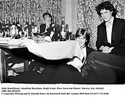 John Stonehouse, Jonathan Burnham, Hugh Grant. Piers Gaveston dinner. Norreys Ave, Oxford. 1980. film 8036f14<br />