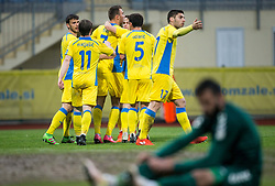 Ivan Firer and other players of Domzale celebrate after scoring 1st goal for Domzale during football match between NK Domzale and NK Krka in Semifinal of Slovenian Football Cup 2016/17, on April 4, 2017 in Sports park Domzale, Slovenia. Photo by Vid Ponikvar / Sportida