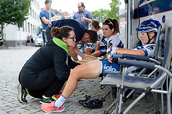 Final massage time in the Cervélo Bigla camp at Thüringen Rundfarht 2016 - Stage 7 a 131 km road race starting and finishing in Gera, Germany on 21st July 2016.
