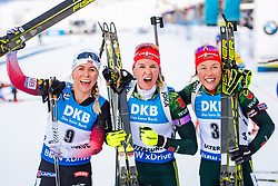March 10, 2019 - –Stersund, Sweden - 190310 Tiril Eckhoff of Norway, Denise Herrmann, and Laura Dahlmeier of Germany celebrates after the Women's 10 km Pursuit during the IBU World Championships Biathlon on March 10, 2019 in Östersund..Photo: Petter Arvidson / BILDBYRÃ…N / kod PA / 92254 (Credit Image: © Petter Arvidson/Bildbyran via ZUMA Press)