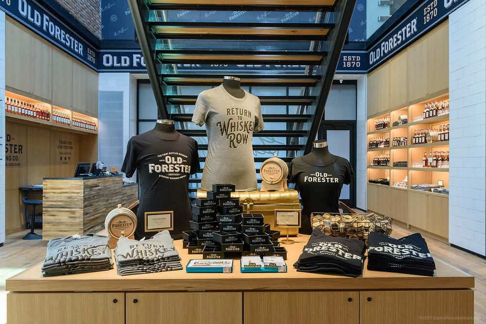 Merchandise available in the retail area of the Old Forester Distilling Company on Whisky Row in Louisville, Ky. June 6, 2018