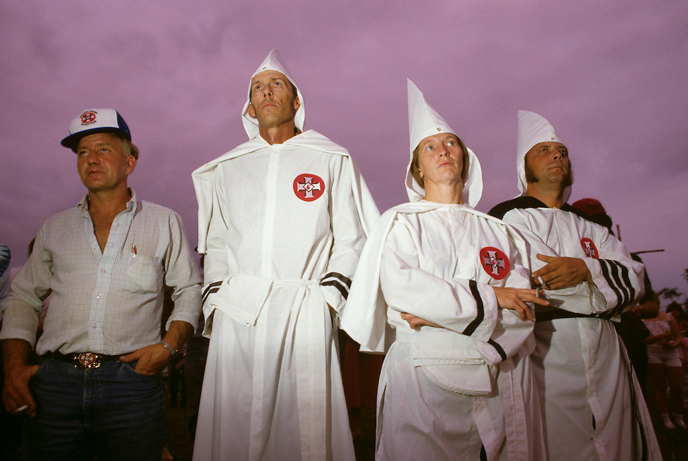 USA, Maryland, Rocky Ridge, Ku Klux Klan members gather at meeting on summer evening