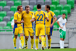 Team NK Domzale celebrate goal during football match between NK Olimpija Ljubljana and NK Domzale of 9th Round of PrvaLiga, on September 17, 2011, in SRC Stozice, Ljubljana, Slovenia. (Photo by Matic Klansek Velej / Sportida)