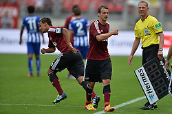 18.08.2013, easyCredit Stadion, Nuernberg, GER, 1. FBL, 1. FC Nuernberg vs Hertha BSC, 2. Runde, im Bild Timothy Chandler (1.FC Nuernberg/ links) wird fuer Markus Feulner (1.FC Nuernberg/ Mitte) eingewechselt // during the German Bundesliga 2nd round match between 1. FC Nuernberg and Hertha BSC at the easyCredit Stadium, Nuernberg, Germany on 2013/08/18. EXPA Pictures © 2013, PhotoCredit: EXPA/ Eibner/ Matthias Merz<br /> <br /> ***** ATTENTION - OUT OF GER *****