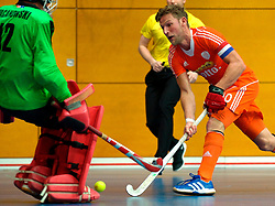 LEIZPIG - WC HOCKEY INDOOR 2015<br /> NED v POL (Pool B)<br /> Foto:TIGGES Robert (C) and PACANOWSKI Maciej (GK)<br /> FFU PRESS AGENCY COPYRIGHT FRANK UIJLENBROEK