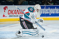 KELOWNA, CANADA -FEBRUARY 10: Jackson Whistle #1 of the Kelowna Rockets deflects a shot against the Seattle Thunderbirds on February 10, 2014 at Prospera Place in Kelowna, British Columbia, Canada.   (Photo by Marissa Baecker/Getty Images)  *** Local Caption *** Jackson Whistle;
