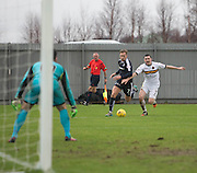 Dundee&rsquo;s Greg Stewart races past Dumbarton&rsquo;s Mark Docherty - Dumbarton v Dundee, William Hill Scottish Cup fifth round at The Cheaper Insurance Direct Stadium <br /> <br />  - &copy; David Young - www.davidyoungphoto.co.uk - email: davidyoungphoto@gmail.com