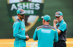 Australia's Mitchell Starc talks wit coach Darren Lehman and Selector Greg Chappell during a nets session at the Melbourne Cricket Ground, Melbourne.
