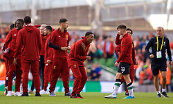 DUBLIN, REPUBLIC OF IRELAND - Saturday, August 5, 2017: Liverpool's Trent Alexander-Arnold and Ben Woodburn share a joke after a preseason friendly match between Athletic Club Bilbao and Liverpool at the Aviva Stadium. (Pic by David Rawcliffe/Propaganda)