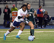 Moorestown Friend's Nia Francis #12 attempts to wrestle control of the ball away from Villa Walsh's Cosette Boulanger #31 in the first half of the non-public B girls soccer state championship game Sunday November 15, 2015 at Kean University in Union, New Jersey. (Photo by William Thomas Cain)