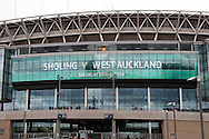 General view of Wembley Stadium showing a sign welcoming Sholing and West Auckland before the FA Vase match at Wembley Stadium, London<br /> Picture by David Horn/Focus Images Ltd +44 7545 970036<br /> 10/05/2014