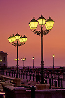 Lighted lamp posts near Ballaja