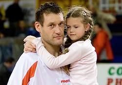 Goran Jagodnik of Hemofarm with his daughter at basketball match in 6th Round of NLB League  between KK Helios Domzale and KK Hemofarm STADA Vrsac , on November 7, 2009, in Dvorana Komunalnega centra, Domzale, Slovenia.  Helios lost 60:85. (Photo by Vid Ponikvar / Sportida)