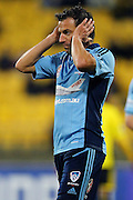 Sydney's Alessandro Del Piero reacts after a missed chance during his A-League debut. 2012/13 Hyundai A-League football match, Wellington Phoenix FC v Sydney FC at Westpac Stadium, Wellington, New Zealand. Saturday 6th October 2012. Photo: Anthony Au-Yeung / photosport.co.nz