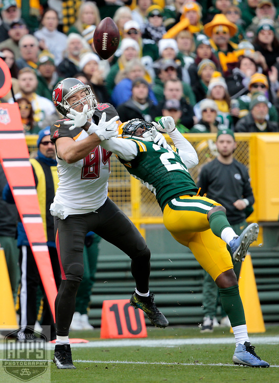 Green Bay Packers cornerback Damarious Randall (23) defends on a 2nd quarter incomplete  pass play to Tampa Bay Buccaneers tight end Cameron Brate (84). <br /> The Green Bay Packers hosted the Tampa Bay Buccaneers at Lambeau Field in Green Bay,  Sunday, Dec. 3, 2017.  STEVE APPS FOR THE STATE JOURNAL.