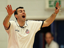Bristol Flyers head coach, Andreas Kapoulas gestures - Photo mandatory by-line: Robbie Stephenson/JMP - Mobile: 07966 386802 - 18/04/2015 - SPORT - Basketball - Bristol - SGS Wise Campus - Bristol Flyers v Leeds Force - British Basketball League