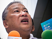 16 JANUARY 2013 - BANGKOK, THAILAND:  SUKHUMBHAND PARIBATRA, candidate for Governor of Bangkok, talks to reporters during a campaign appearance in Bangkok Wednesday. The Oxford educated Sukhumbhand is a member of the Thai royal family (he is a great grandson of the late Thai King Chulalongkorn). He is a member of the Thai Democrat party and was first elected Governor of Bangkok in 2009. He is running for reelection this year. Sukhumbhand faces six challengers in the March 3 election. His toughest opponent is expected to be Police General Pongsapat Pongcharoen, who is running under the banner of the Pheu Thai Party, which controls the Prime Minister's office and Parliament.    PHOTO BY JACK KURTZ