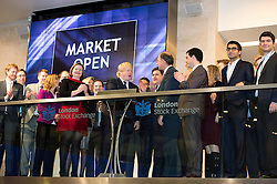 © London News Pictures. 12/02/2013 . London, UK. Mayor Of London, BORIS JOHNSON (left centre) opening the days trading at the London Stock Exchange with XAVIER ROLET CEO of London Stock Exchange Group (right centre).  Photo credit : Ben Cawthra/LNP