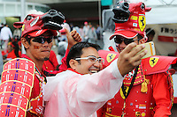 Fans and atmosphere - Ferrari fans.<br /> Japanese Grand Prix, Sunday 5th October 2014. Suzuka, Japan.