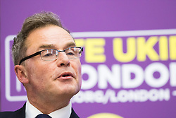 Emmanuel Centre, Westminster, London, April 19th 2016. UKIP Mayoral Candidate Peter Whittle addresses the press and local election candidates and supporters as UKIP launches their London Mayoral campaign manifesto.