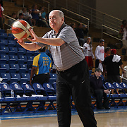 Washington Mystics Head Coach MIKE THIBAULT warming up with his team prior to a WNBA preseason basketball game between the Chicago Sky and the Washington Mystics Tuesday, May. 13, 2014 at The Bob Carpenter Sports Convocation Center in Newark, DEL.