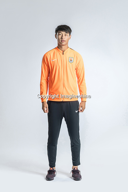 **EXCLUSIVE**Portrait of Chinese soccer player Guo Tianyu of Shandong Luneng Taishan F.C. for the 2018 Chinese Football Association Super League, in Ji'nan city, east China's Shandong province, 24 February 2018.