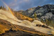 Waterwheels and rainbow in LeConte Falls, Tuolumne River, Yosemite National Park, California