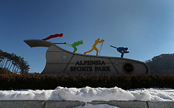 Entrance to the Alpensia Sports Park during a preview day at the Alpensia Sports Park, ahead of the PyeongChang 2018 Winter Olympic Games in South Korea.