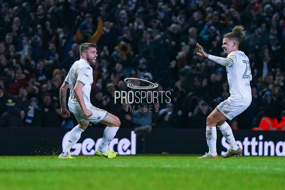 Leeds United defender Stuart Dallas (15) scores a goal and celebrates to make the score 1-1 during the EFL Sky Bet Championship match between Leeds United and Preston North End at Elland Road, Leeds, England on 26 December 2019.
