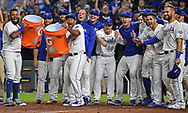 Kansas City Royals players wait for  catcher Salvador Perez (not pictured) after hitting a walk off grand slam home run to beat the Minnesota Twins during the ninth inning at Kauffman Stadium.