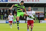 Forest Green Rovers Omar Bugiel(11) and Accrington Stanley's Farrend Rawson(27) battle for the ball during the EFL Sky Bet League 2 match between Forest Green Rovers and Accrington Stanley at the New Lawn, Forest Green, United Kingdom on 30 September 2017. Photo by Shane Healey.