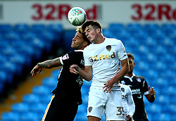 Conor Shaughnessy of Leeds United challenges Anton Forrester of Port Vale to a header - Mandatory by-line: Robbie Stephenson/JMP - 09/08/2017 - FOOTBALL - Elland Road - Leeds, England - Leeds United v Port Vale - Carabao Cup