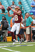 Sunday, October 13, 2019; Miami Gardens, FL USA;  Washington Redskins wide receiver Trey Quinn (18) catches a pass during pregame warmups prior to an NFL game against the Dolphins at Hard Rock Stadium. The Redskins beat the Dolphins 17-16. (Kim Hukari/Image of Sport)