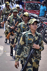March 24, 2019 - Kolkata, West Bengal, India - Border Security Force or BSF women jawan or soldier patrol during their route march for upcoming Lok Sabha or General Election 2019. (Credit Image: © Saikat Paul/Pacific Press via ZUMA Wire)
