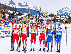 24.02.2019, Langlauf Arena, Seefeld, AUT, FIS Weltmeisterschaften Ski Nordisch, Seefeld 2019, Langlauf, Herren, Teambewerb, im Bild v.l. Alexander Bolshunov (RUS), Gleb Retivykh (RUS), Emil Iversen (NOR), Johannes Hoesflot Klaebo (NOR), Federico Pellegrino (ITA), Francesco De Fabiani (ITA) // f.l. Alexander Bolshunov Gleb Retivykh of Russian Federation Emil Iversen Johannes Hoesflot Klaebo of Norway Federico Pellegrino and Francesco De Fabiani of Italy during the men's cross country team competition of FIS Nordic Ski World Championships 2019 at the Langlauf Arena in Seefeld, Austria on 2019/02/24. EXPA Pictures © 2019, PhotoCredit: EXPA/ Stefan Adelsberger
