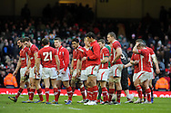 The Welsh players look dejected as they walk off at the end of the match. RBS Six nations championship, Wales v Ireland at the Millennium stadium in Cardiff, South Wales on Saturday 2nd Feb 2013. pic by Andrew Orchard, Andrew Orchard sports photography,