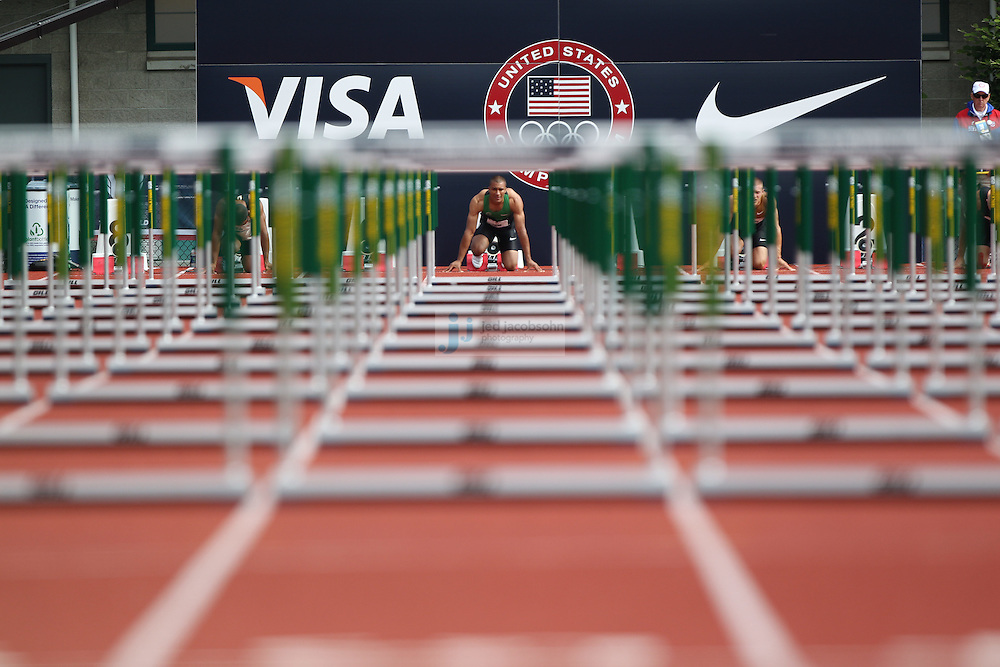 Ashton Eaton prepares to race in the 110m hurdles for the Decathlon during day 2 of the U.S. Olympic Trials for Track & Field at Hayward Field in Eugene, Oregon, USA 23 Jun 2012..(Jed Jacobsohn/for The New York Times)....