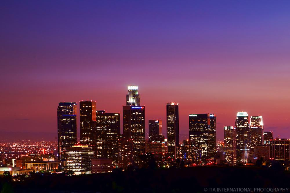 Skyline from Elysian Park at Sunset