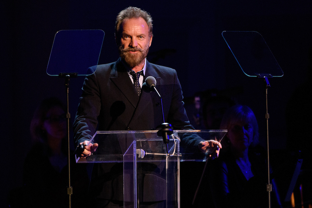"""Photos of Sting attending the """"It Always Seems Impossible Until It Is Done"""" World AIDS Day event at Carnegie Hall in New York, NY on December 1, 2015. © Matthew Eisman/ Rolling Stone. All Rights Reserved"""