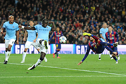 Barcelona's Neymar attempts a shot on goal with a bicycle kick - Photo mandatory by-line: Dougie Allward/JMP - Mobile: 07966 386802 - 18/03/2015 - SPORT - Football - Barcelona - Nou Camp - Barcelona v Manchester City - UEFA Champions League - Round 16 - Second Leg