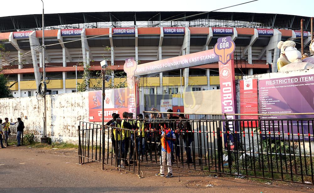 Entry gates during match 39 of the Indian Super League (ISL) season 2  between FC Goa and Mumbai City FC held at the Jawaharlal Nehru Stadium, Fatorda, Goa, India on the 17th November 2015.<br /> <br /> Photo by Sandeep Shetty / ISL/ SPORTZPICS