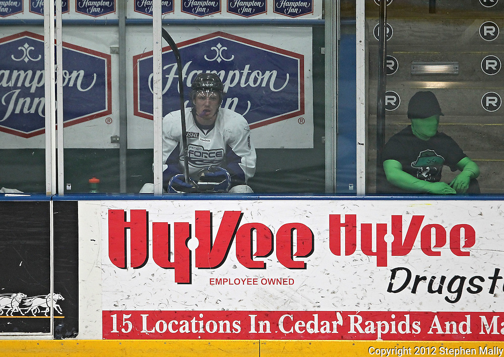 Force's Willie Corrin (5) sits in the penalty box during the game at the Cedar Rapids Ice Arena, 1100 Rockford Road SW in Cedar Rapids on Saturday evening, February 18, 2012. (Stephen Mally/Freelance)