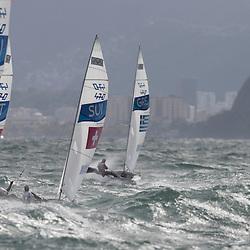 Brazil Rio de Janeiro 2. August 2016 Marina di Gloria, Rio 2016 Olympic Games, Racing day 4, 470 Race course Niteroi outside the bay of Guanabara<br /> <br /> ©Juerg Kaufmann go4image.com