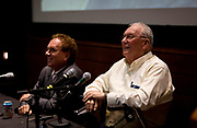 "John Nichols, left, and Dave Zweifel share a laugh during their talk ""Celebrating two progressive icons — The Capital Times at 100 and the late Ed Garvey"" during the Cap Times 2017 Idea Fest, Saturday, September 16, 2017"