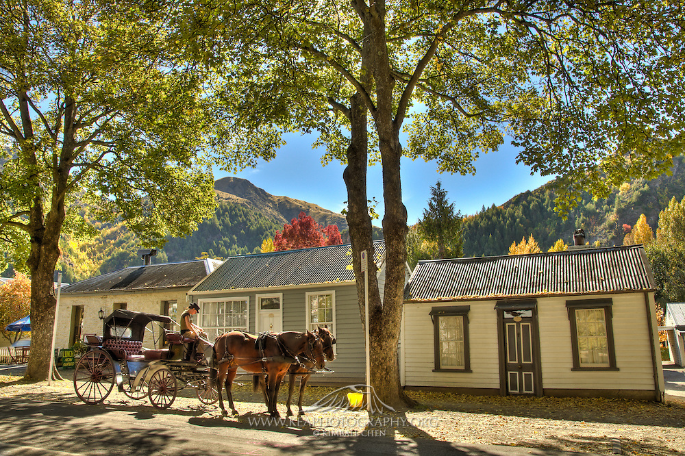 Horse Carriage in Historic Arrowtown, New Zealand